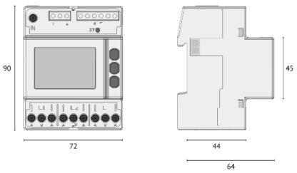 UPM209 Power Analyser Din Rail Comms Dimensions
