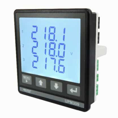 UPM309 Power Analyser Panel Mount Comms - Front Angle View
