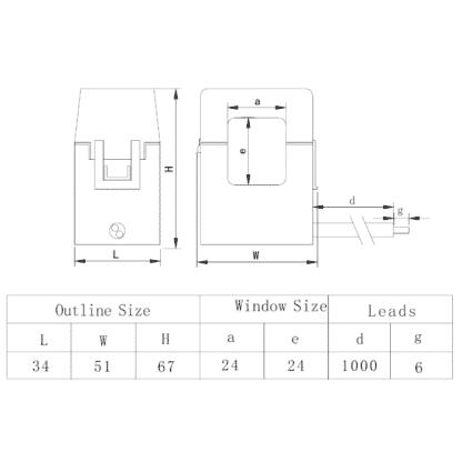SCT-T24 Split Core Current Transformer Dimensions